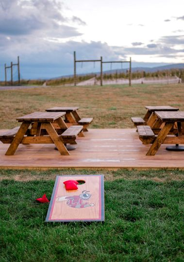 Outdoor games are fun to enjoy with vineyard and mountain views.