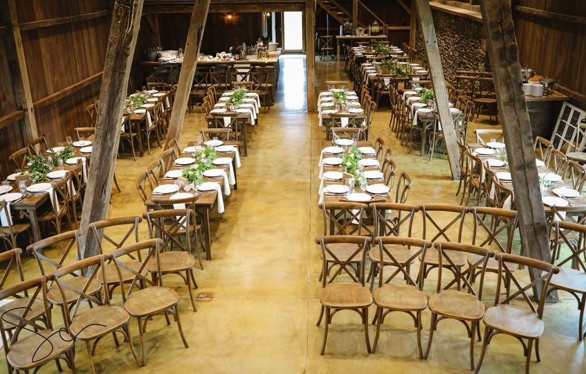 Indoor ceremony set up works great - everyone can see you exchange vows on the stage/loft.