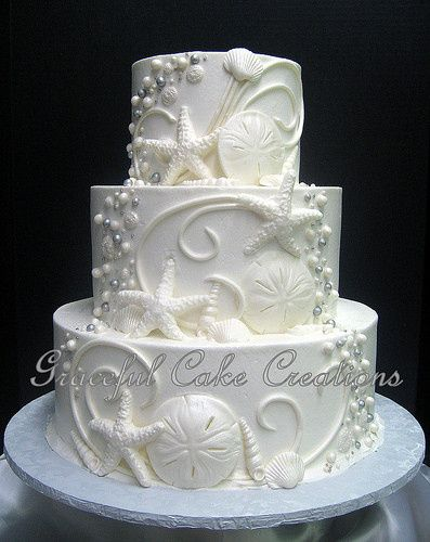 Wedding cake with beach details