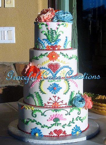 Wedding cake with fun flower design
