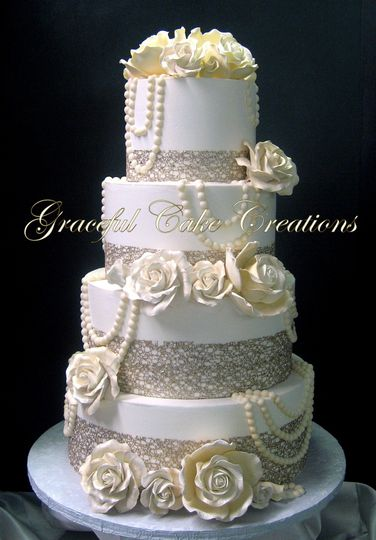 Wedding cake with pearls and flowers