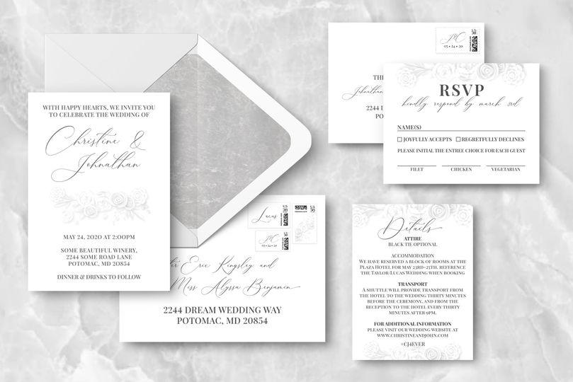 Lily white invitation suite