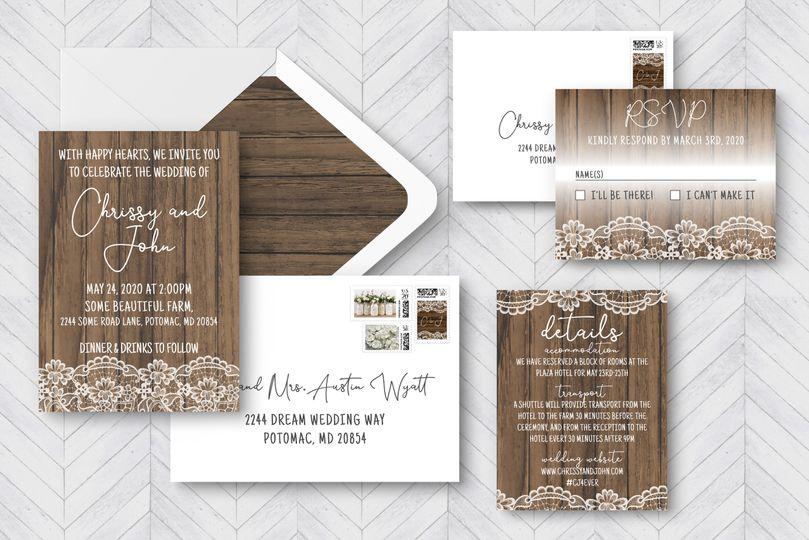 Rustic lace invitation suite