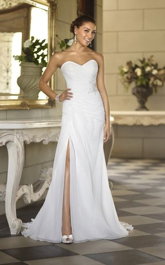 Wedding dress with high slit