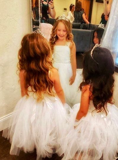 Flower girls in bridal suite