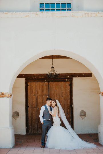 Bride and Groom in San Juan Bautista