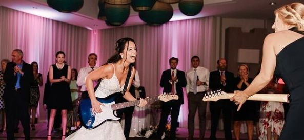 Bride jamming with the band!