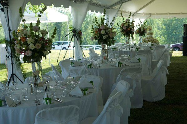 Raised centerpieces for a reception