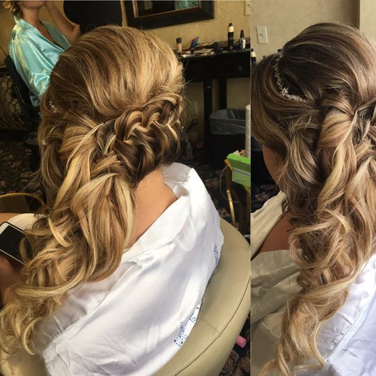 Lovely side braid with curls