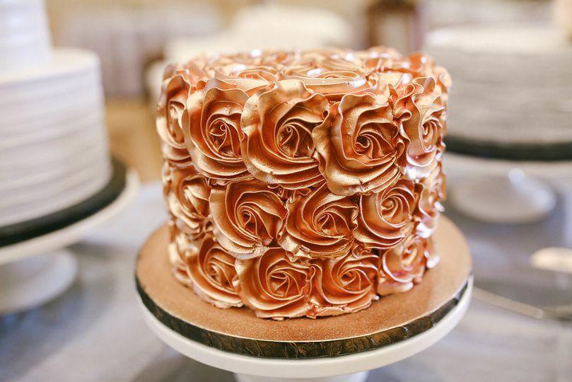 Rose gold rosette cake