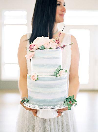 Watercolor 2 tier cake