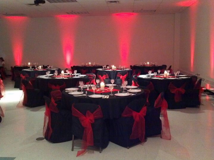 Wedding reception area in black and red