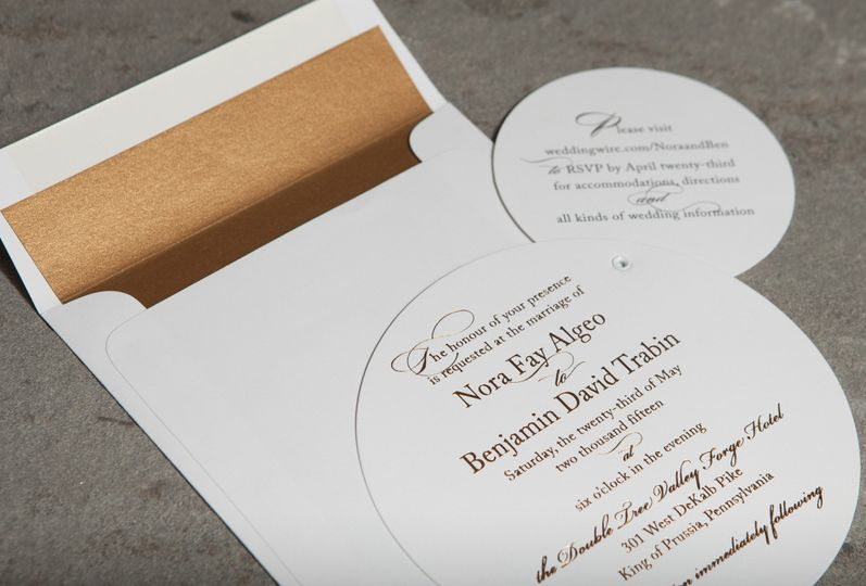 Unique die cut and foil printed wedding invitation. Responses were done on-line for this wedding, so...