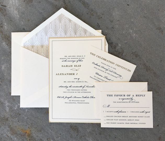 A subtle way to add art deco to your invitation is with a deco-patterned envelope liner