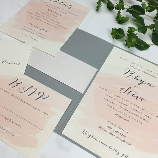 Blush and charcoal folder invite