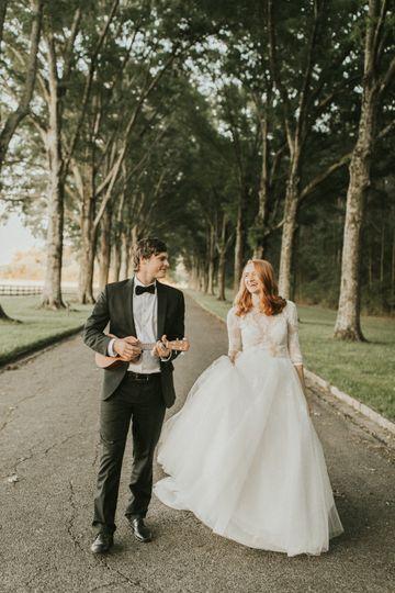 Groom serenades his bride