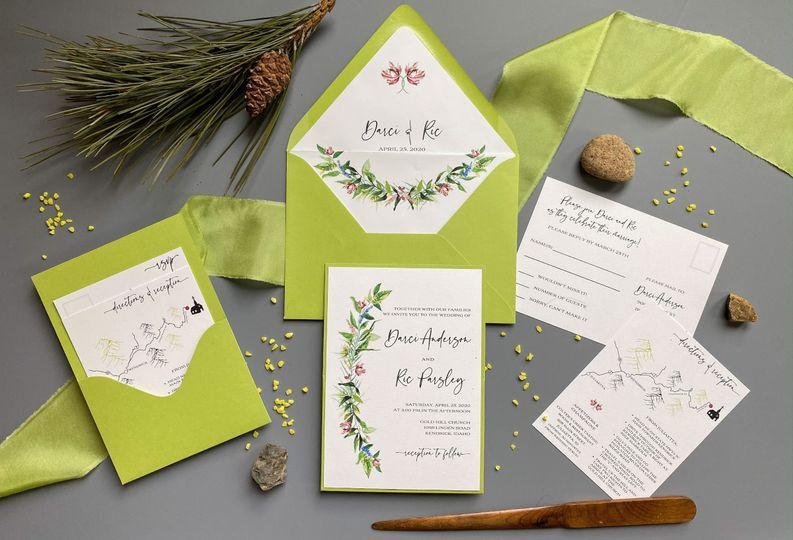 Lime floral pocket set