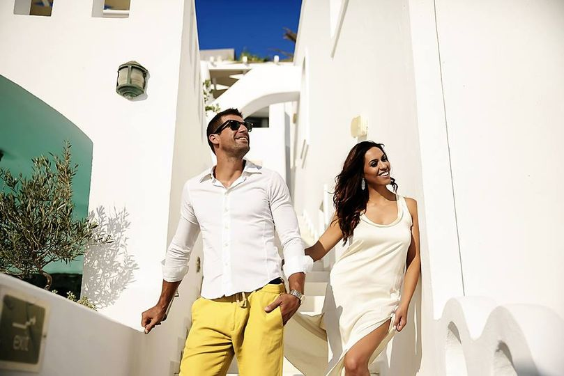 Nick and his bride in oia