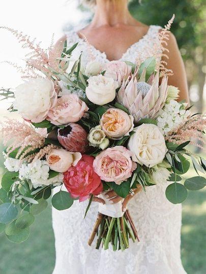 King protea, garden roses,