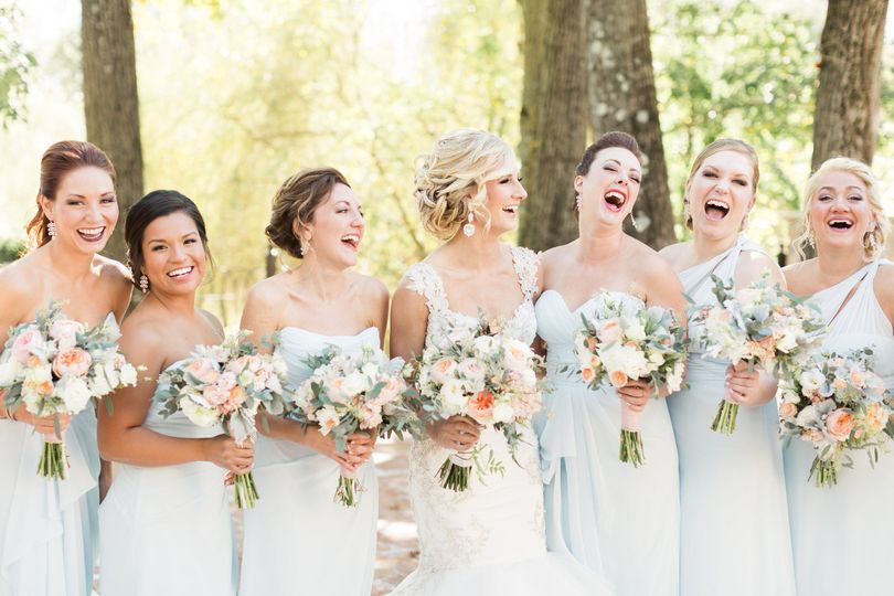 Happy bride and bridesmaids