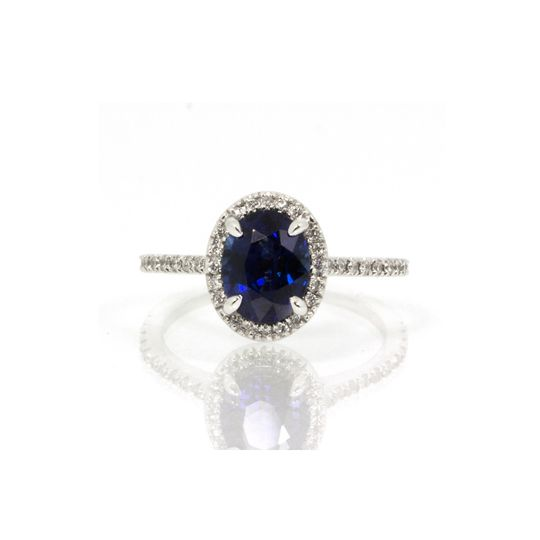 Thin silver ring with blue stone