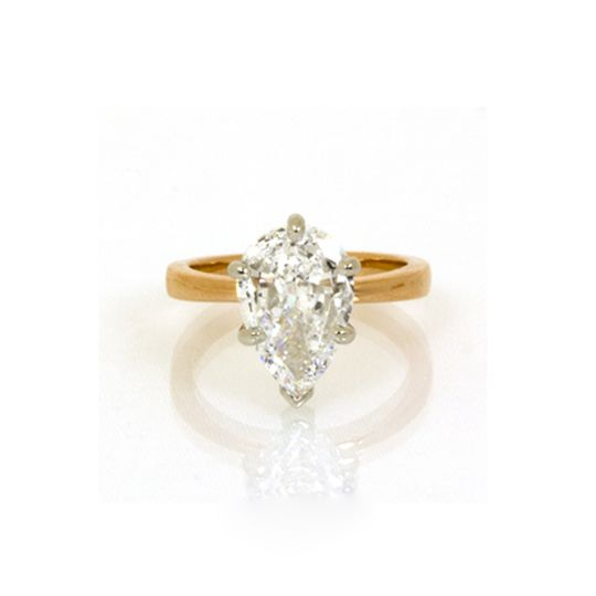 Golden ring with diamond stone