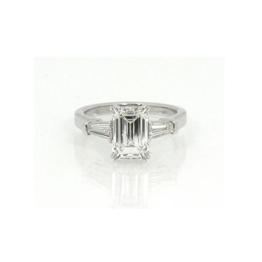 Silver ring with square cut stone
