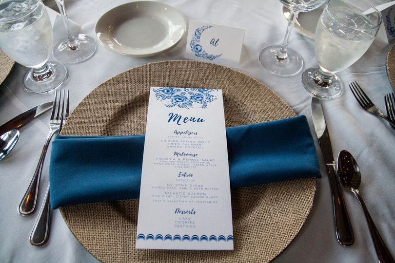 Menu at placesetting