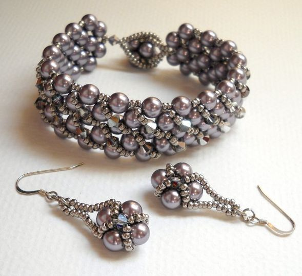 Beaded bracelet and earring set.  Perfect for your bridesmaids, your bride, or the mother of the...