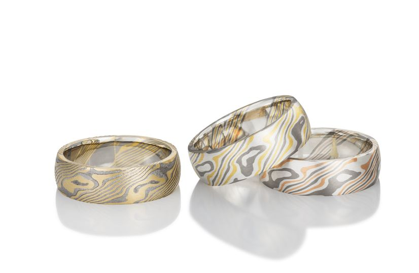 Mokume Gane rings (L-R): Maple in Palladium 500 and 18K yellow gold