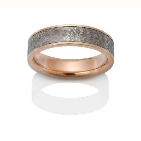 Limited Edition antique Damascus shotgun barrel ring with 18K yellow gold.