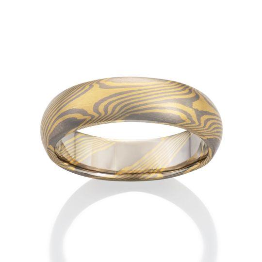Mokume Gane ring: Teak pattern with Palladium 500 and silver.