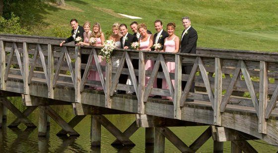 Wedding party on the bridge