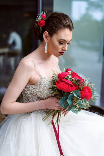 Red Lips For bride makeup