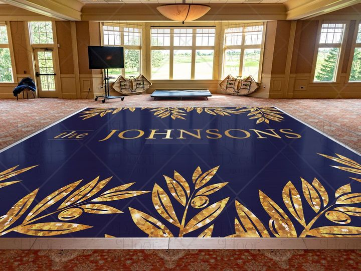 Tmx Sophisticatedsparkle Mockup Gold Glitter Leaves Leaf Dance Floor Decal Dance Floor Decor Weddings Weddings On A Budget Custom 51 1866479 1566830478 Gurnee, IL wedding eventproduction