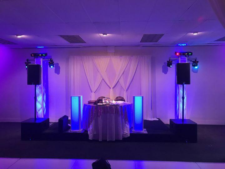 Sweetheart table setup and lighting