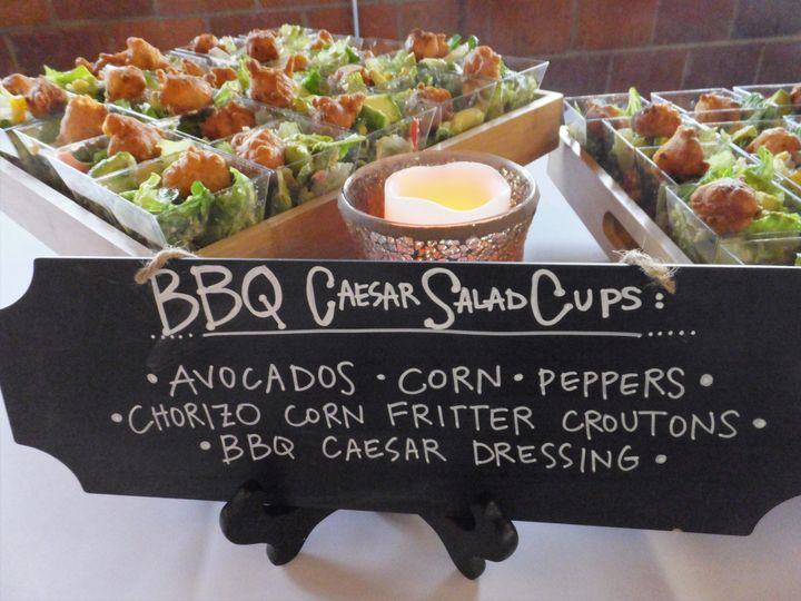 bbq caesar salad cups with avocado corn peppers c