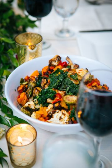 roasted vegetable medley of kale brussels sprouts