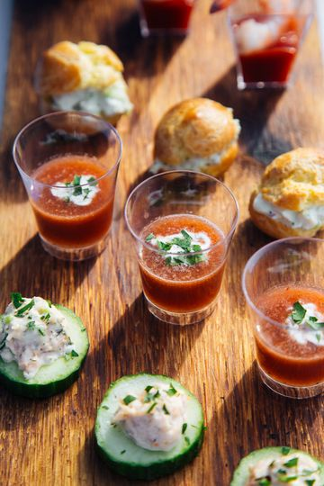watermelon gaspacho shooters cucumber crowns with