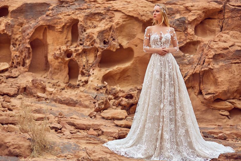 Wedding Dress By OKSANA MUKHA designer ONLY in Charmé Gaby Bridal Gown boutique $1500.00