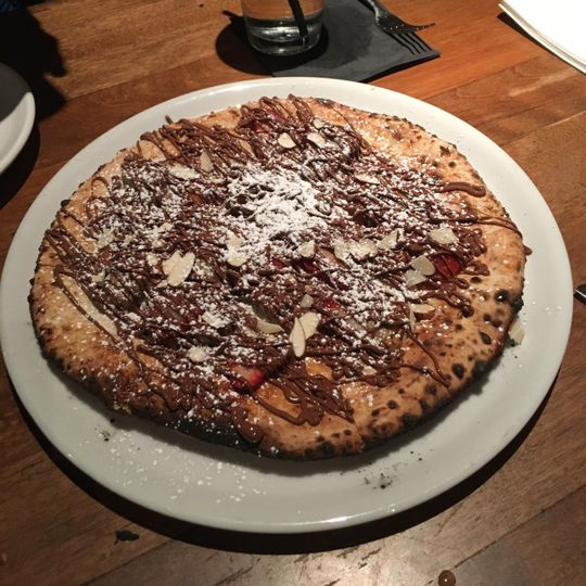 Sweet nutella dessert pizza