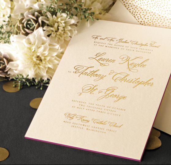 Gold Foil Stamped Calligraphy