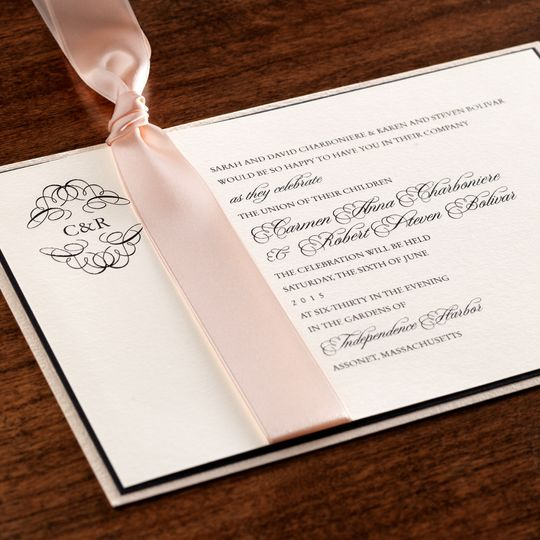 Blush Ribbon Layered Invite