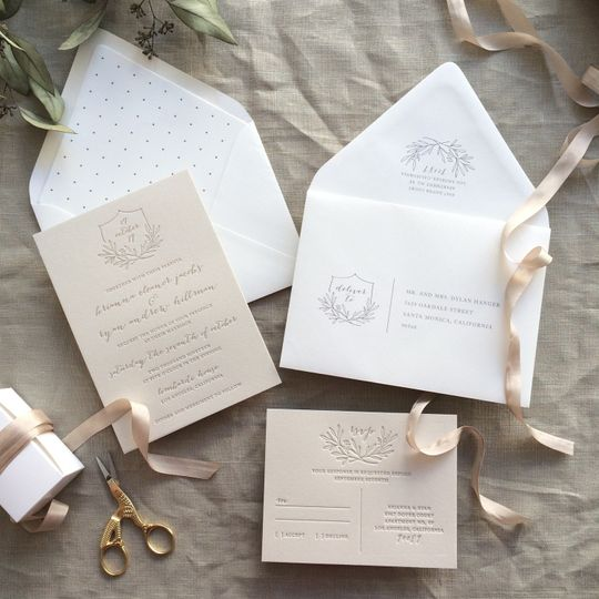 Taupe Letterpress Invitations