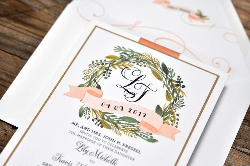 Olive Branch Wreath Invite