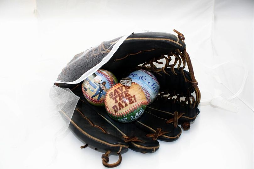 beautiful save-the-dates, favors, and anniversary sports balls!