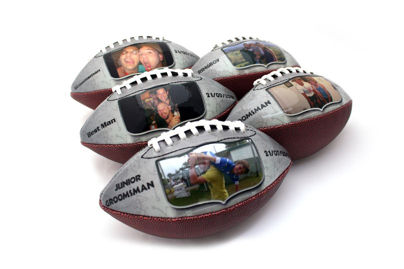 Make-A-Ball footballs are great gifts for the groomsmen for an autumn wedding!