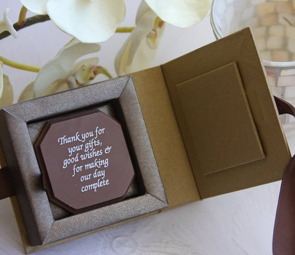 Personalized chocolate in gold ribbon box