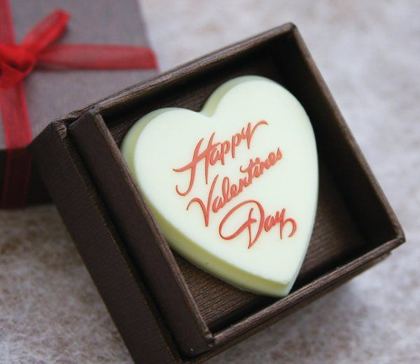 Valentine's Day chocolates are available in milk, white and dark chocolate.