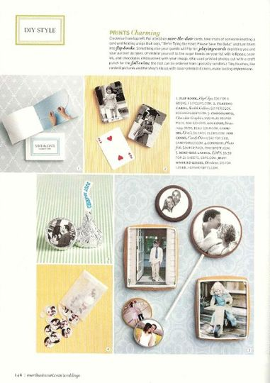 Photo chocolates featured in Martha Stewart's Wedding Magazine.